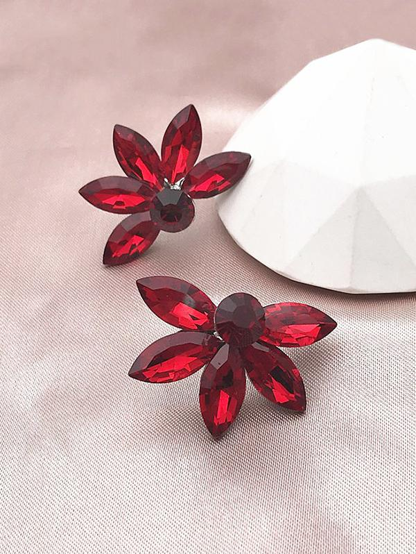 Floral Shape Glass Stud Earrings