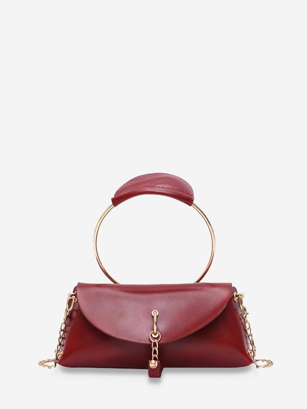 Circle Handle Flap Leather Tote Bag
