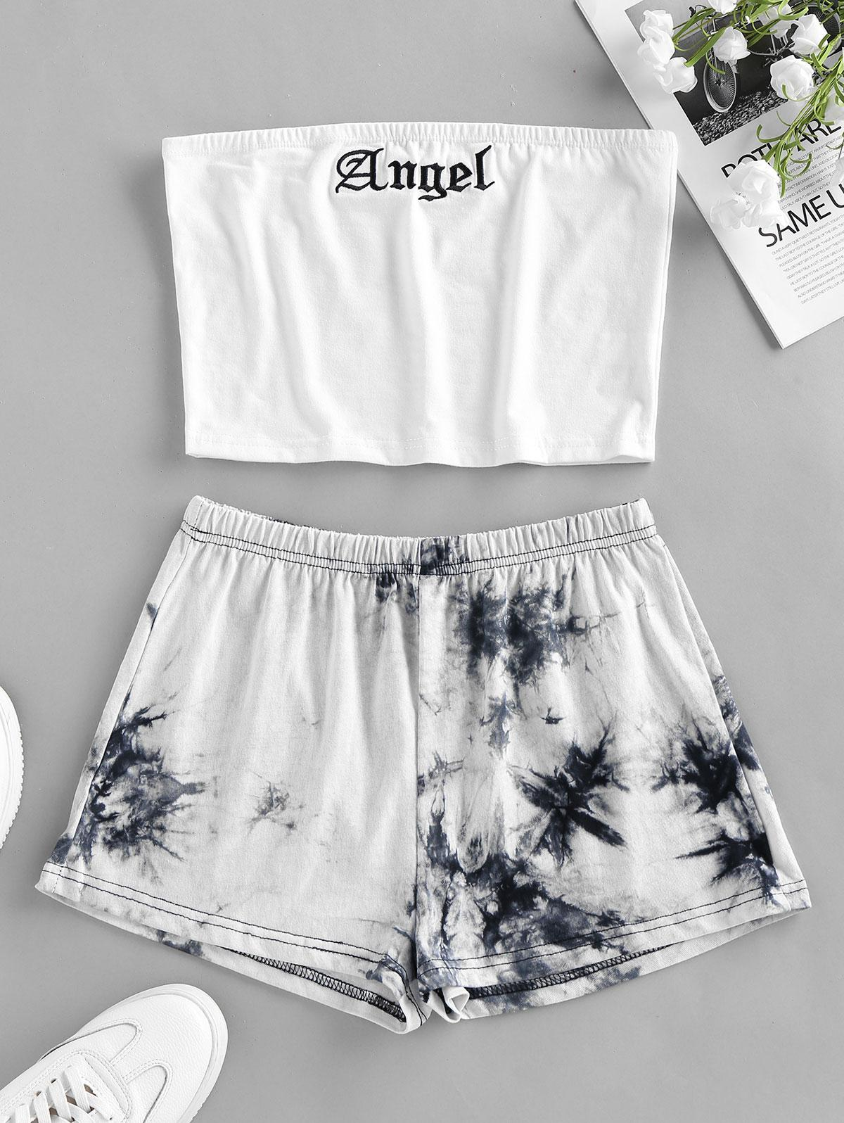 ZAFUL Tie Dye Angle Graphic Pajama Short Set