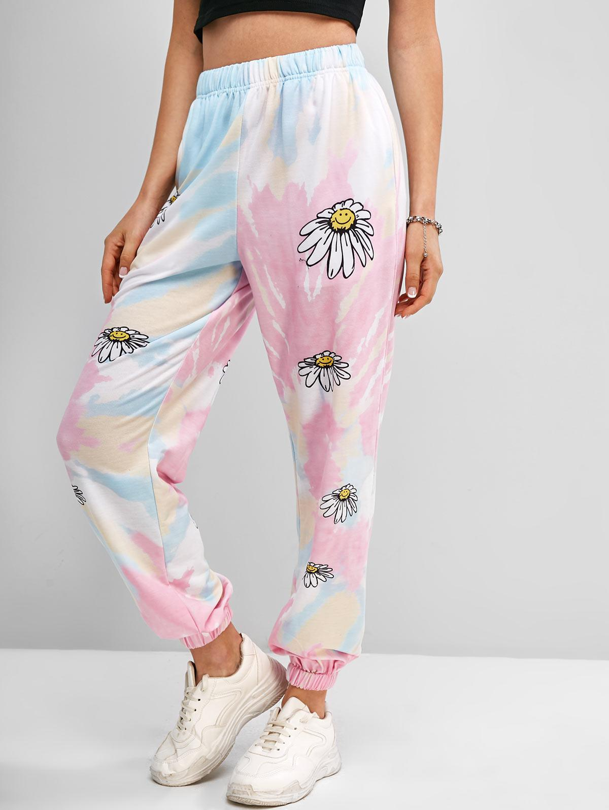 Tie Dye Daisy Print Jogger Sweatpants