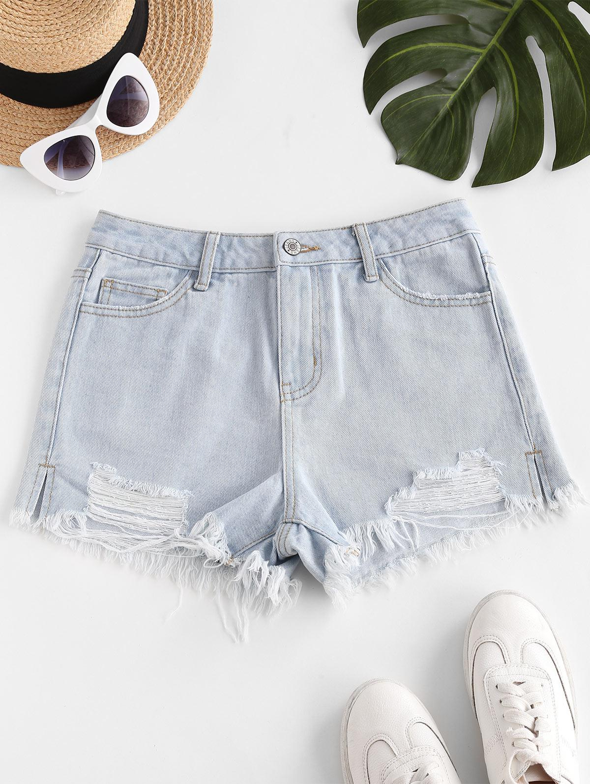 Destroyed Frayed Hem Denim Cutoff Shorts