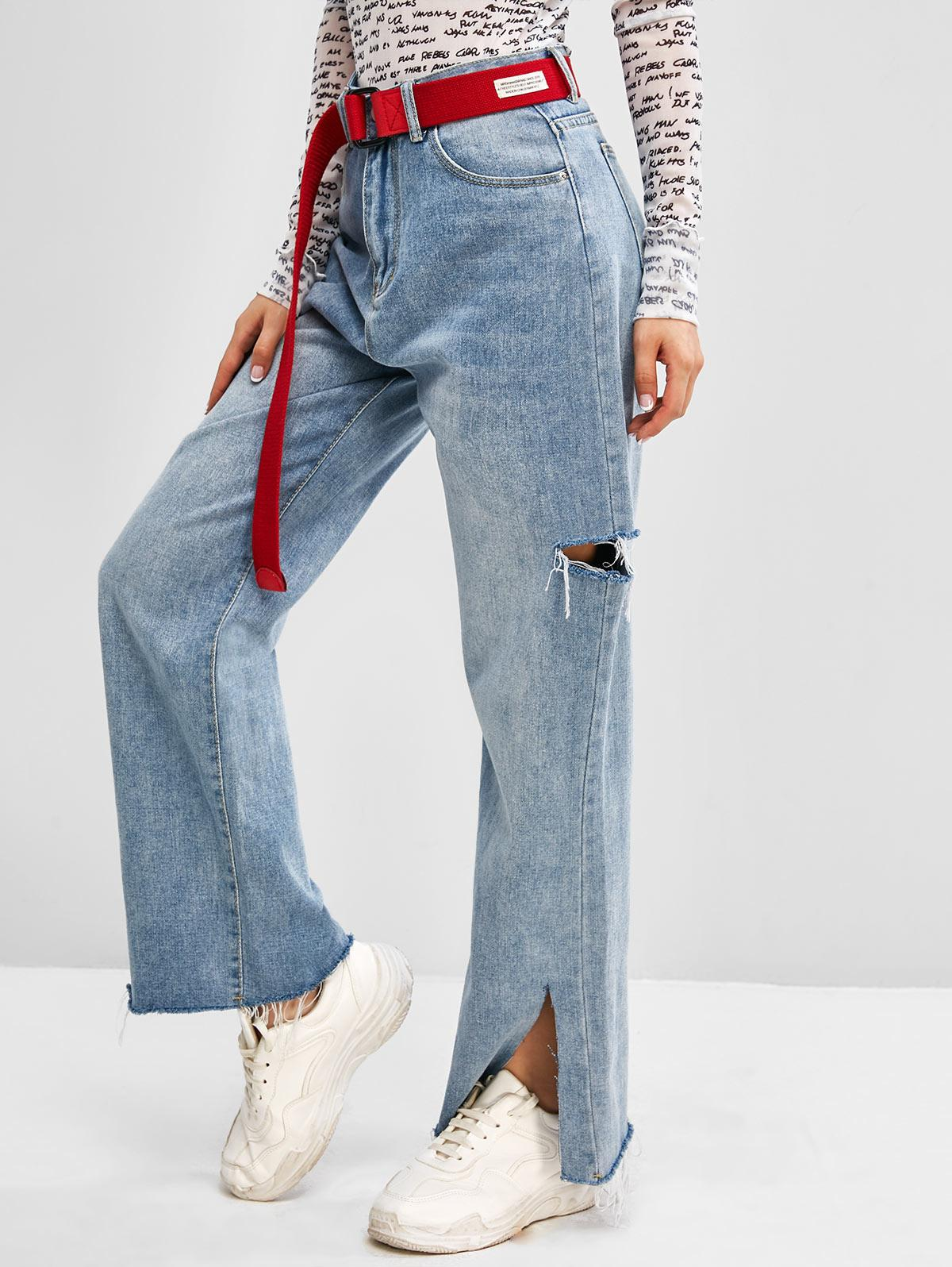 High Waisted Ripped Slit Straight Leg Jeans
