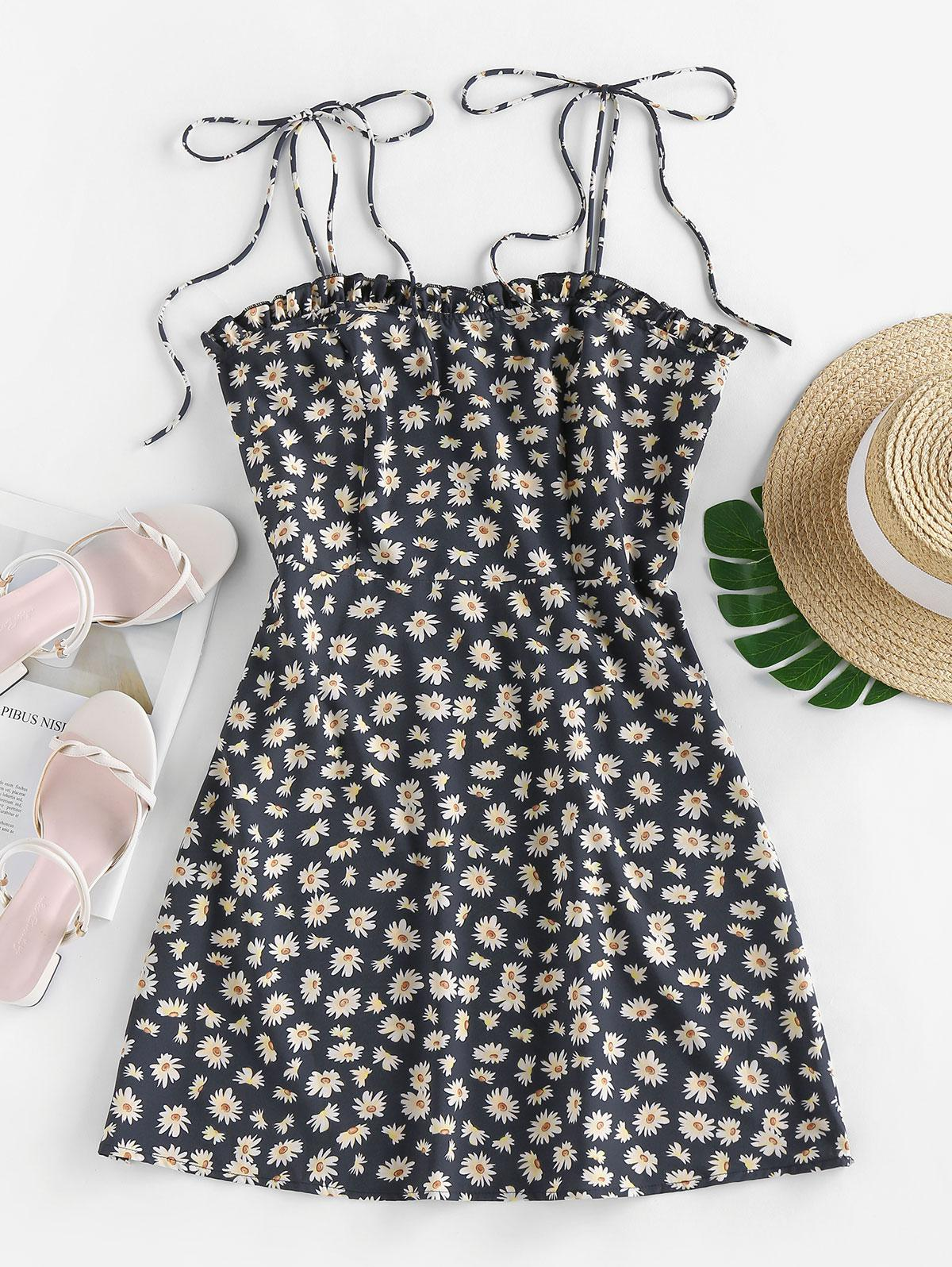 ZAFUL Daisy Print Mini Cami Dress