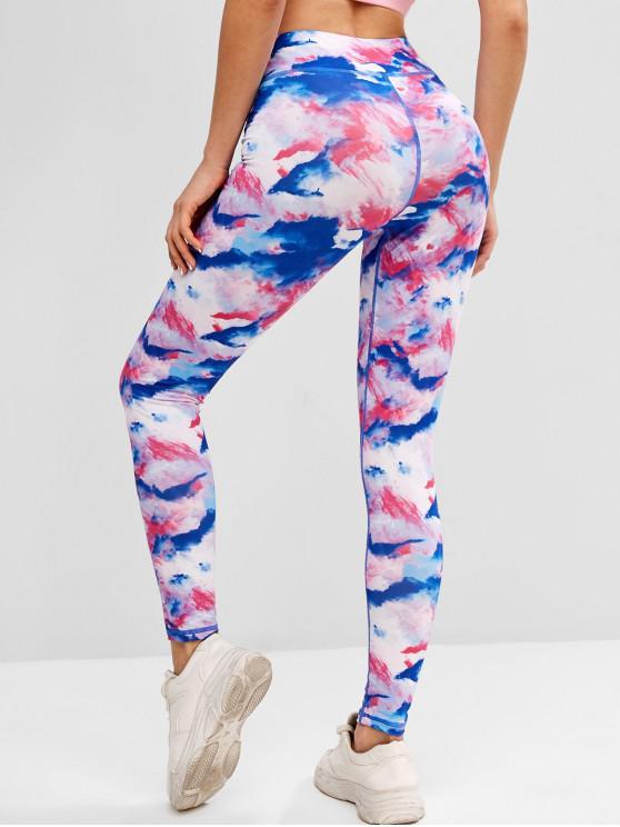 Tie Dye Topstitch High Waisted Gym Leggings - Blue S | ZAFUL