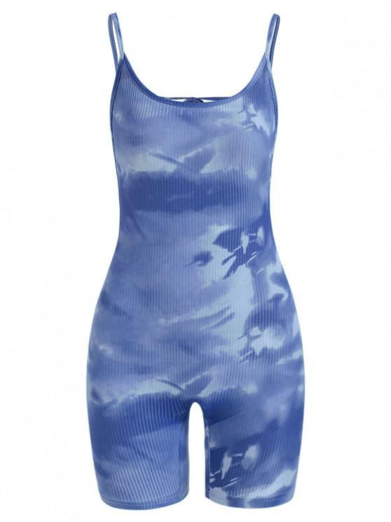 ladies Tie Dye Ribbed Backless Biker Romper - BLUE L