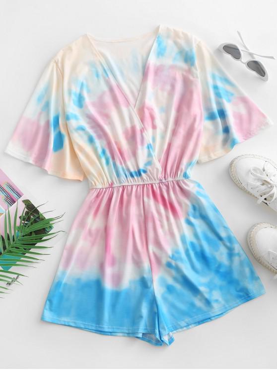 lady Elastic Waist Tie Dye Surplice Romper - LIGHT PINK S