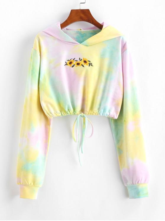 trendy Tie Dye Sunflower Embroidered Copped Hoodie - MULTI S