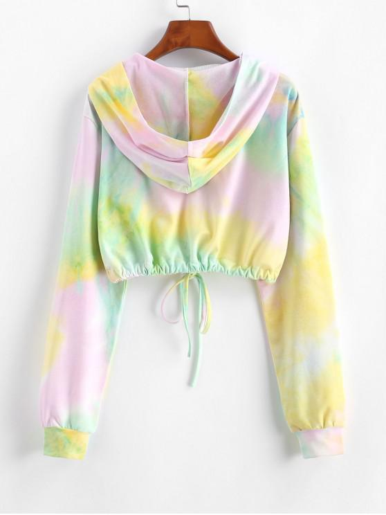 Tie Dye Sunflower Embroidered Copped Hoodie - Multi M | ZAFUL