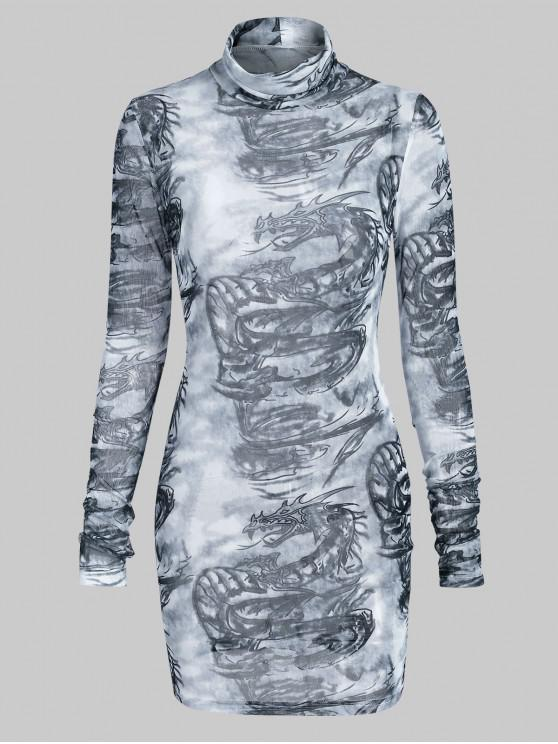 trendy Turtleneck Oriental Dragon Print Sheer Mesh Bodycon Dess - GRAY M