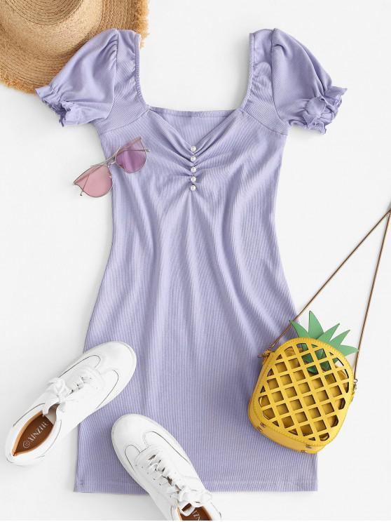 buy Pearly Buttoned Ribbed Sweetheart Bodycon Dress - PURPLE L