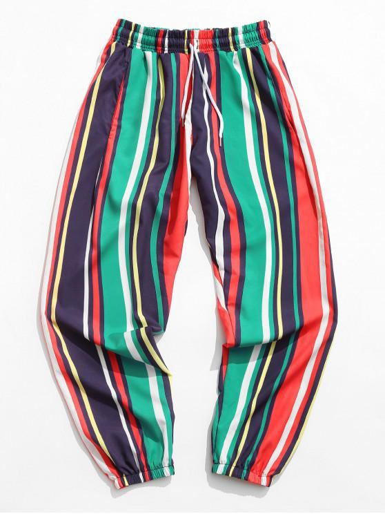 Contrast Stripes Print Drawstring Jogger Pants - متعددة-A S