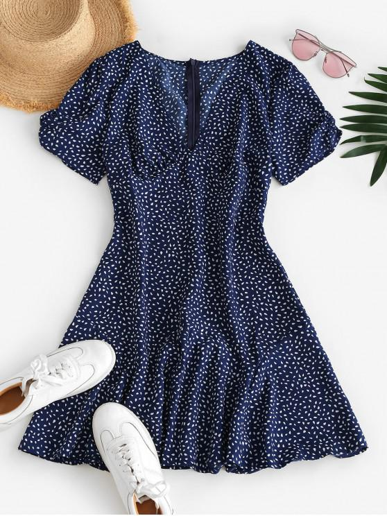 outfit Ditsy Print Plunging A Line Tea Dress - DEEP BLUE M