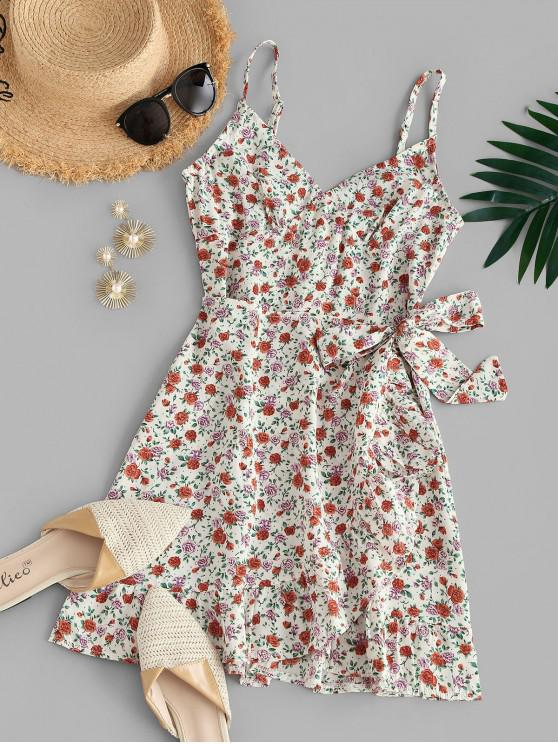 trendy Ditsy Floral Overlap Cami Flounce Sundress - LIGHT PINK S