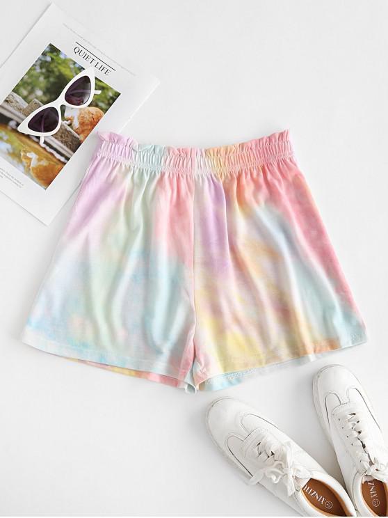 women Tie Dye Frilled High Rise Shorts - LIGHT GREEN M