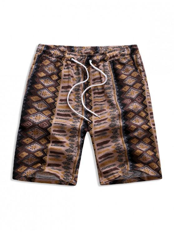 women Geometry Print Drawstring Bermuda Shorts - MULTI 2XL