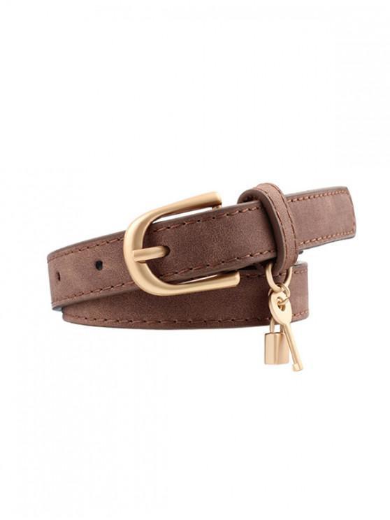Lock Key Decoration PU Buckle Belt - القهوة العميقة