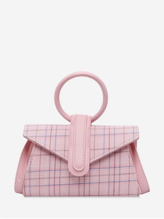 best Plaid Print Circle Handle Mini Crossbody Bag - LIGHT PINK