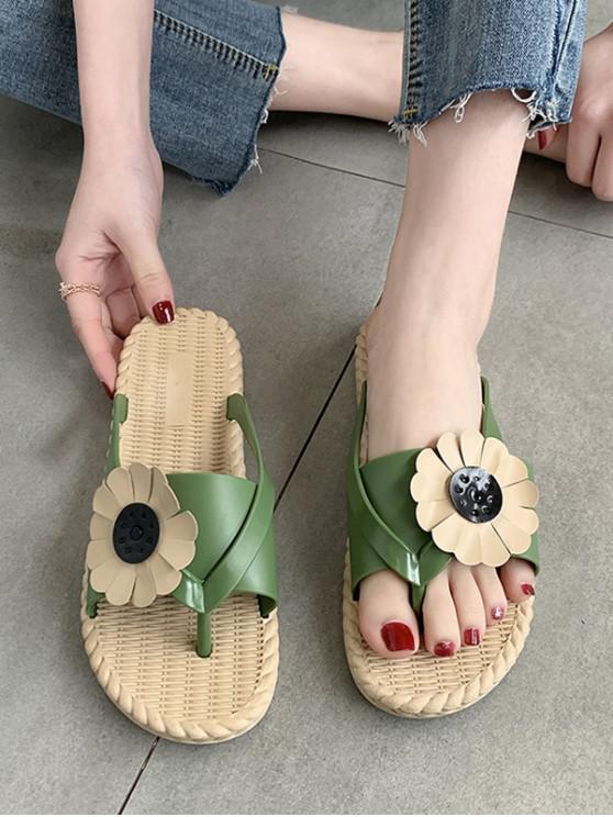Beach Sunflower Thong Slides Sandals - أخضر الاتحاد الأوروبي 38