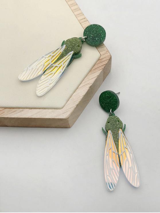 trendy Glitter Dragonfly Stud Drop Earrings - GOLDEN