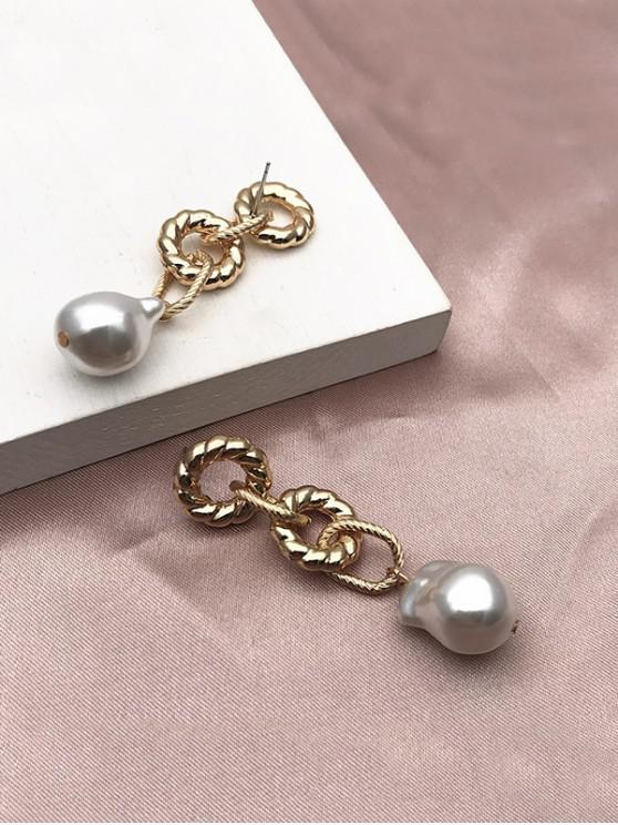 latest Link Chain Faux Pearl Earrings - GOLDEN