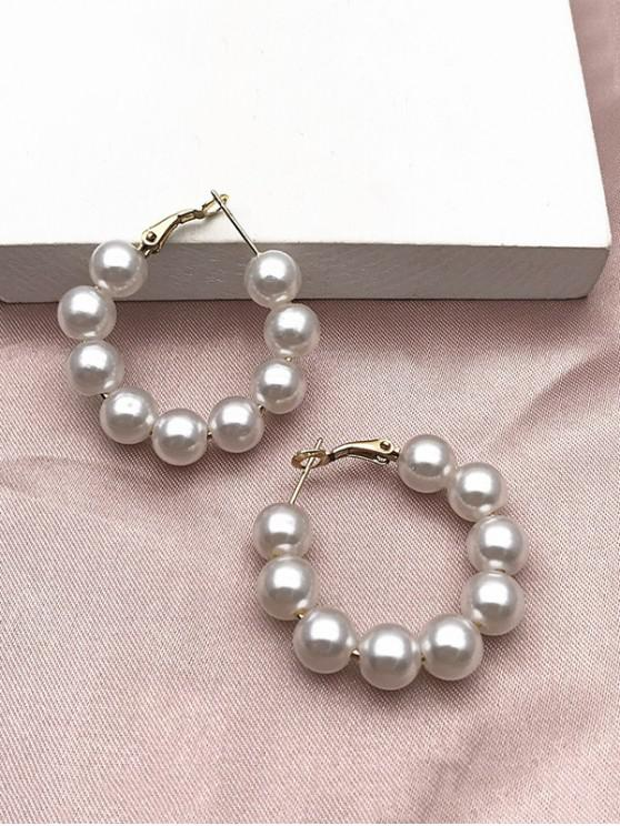latest Artificial Pearl Hoop Earrings - WHITE