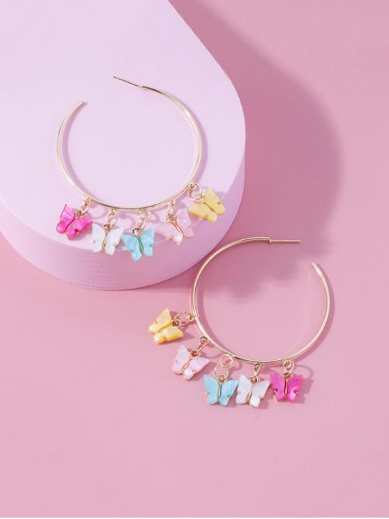 fashion Butterfly Fringe Hoop Earrings - GOLDEN 7.7*5.25CM