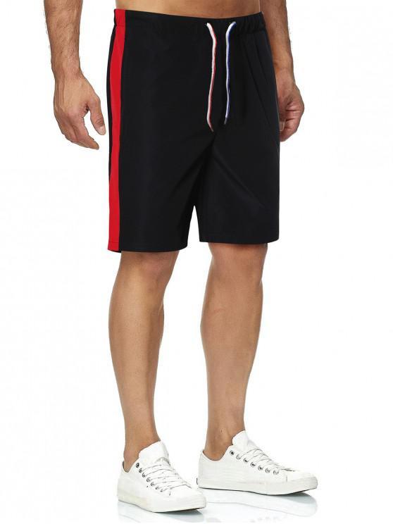 Side Colorblock Drawstring Straight Shorts - أسود M