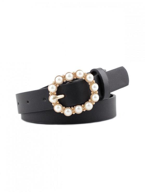 Faux Pearl Buckle PU Leather Waist Belt - أسود