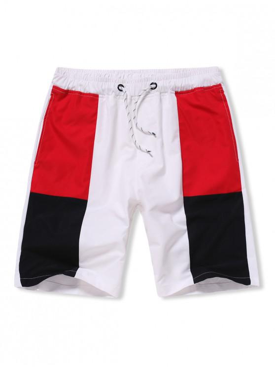Colorblock Drawstring Beach Casual Shorts - أبيض M