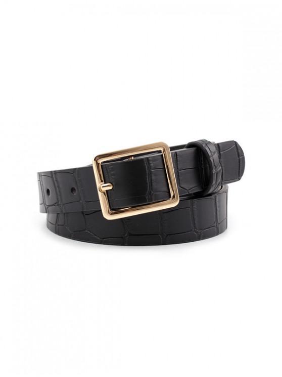 lady Animal Pattern PU Leather Waist Belt - BLACK