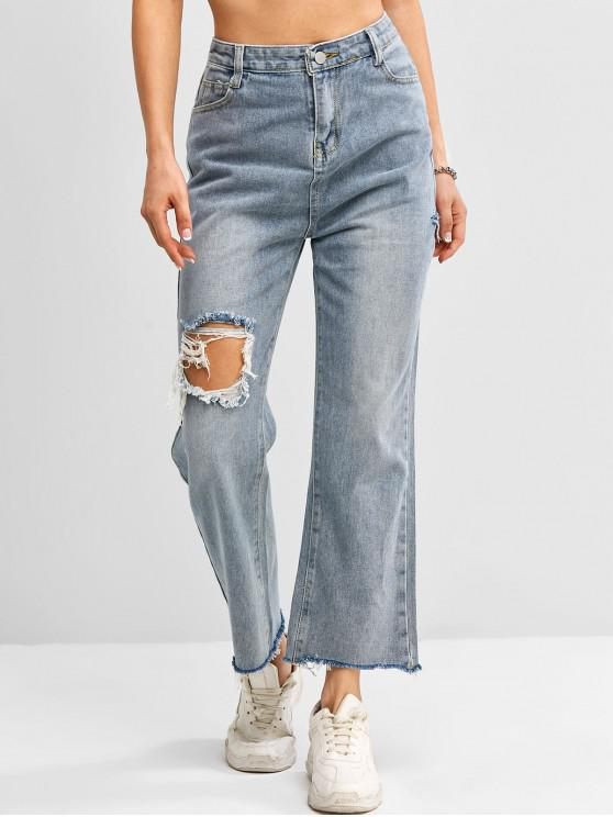online Distressed Frayed Hem High Waisted Straight Jeans - BLUE S