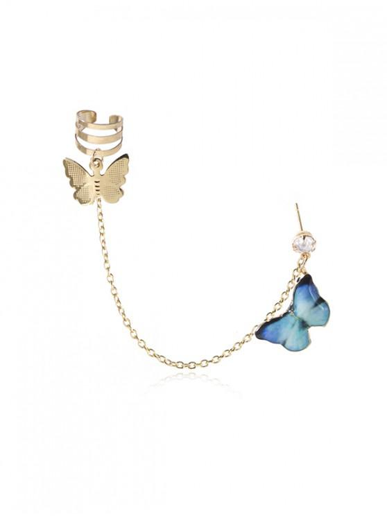 latest Colored Butterfly Pendant Chain Ear Cuff - DEEP SKY BLUE