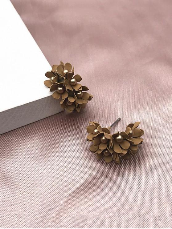 hot Floral C-shaped Bead Stud Earrings - LIGHT COFFEE