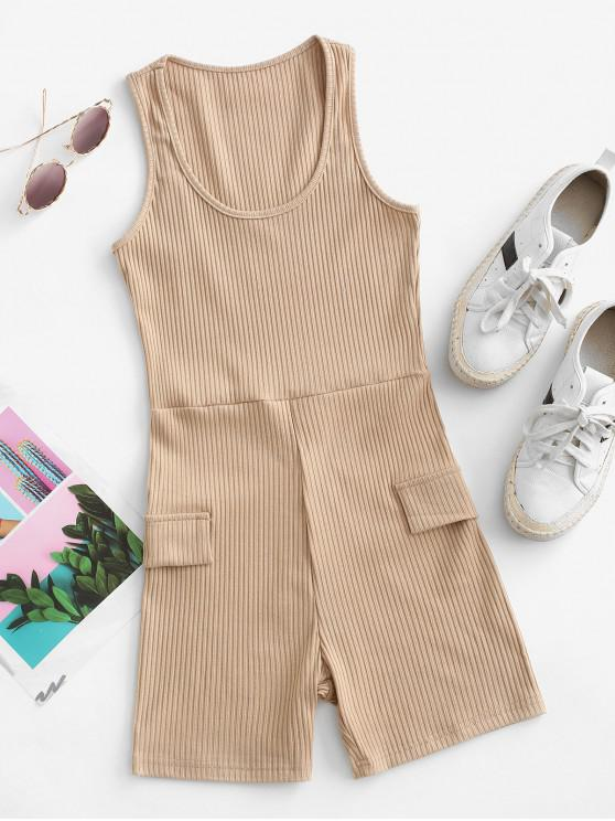 outfits Sleeveless Flap Detail Ribbed Romper - LIGHT COFFEE L