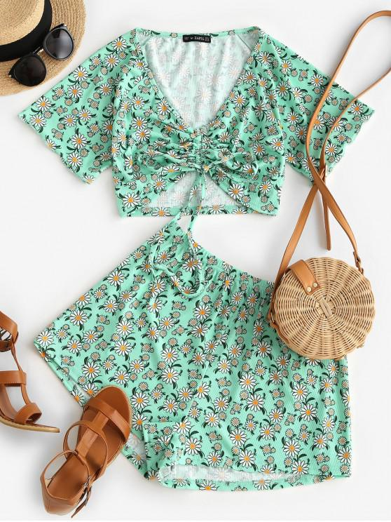 fancy ZAFUL Ribbed Daisy Print Cinched Raglan Sleeve Shorts Set - LIGHT GREEN M