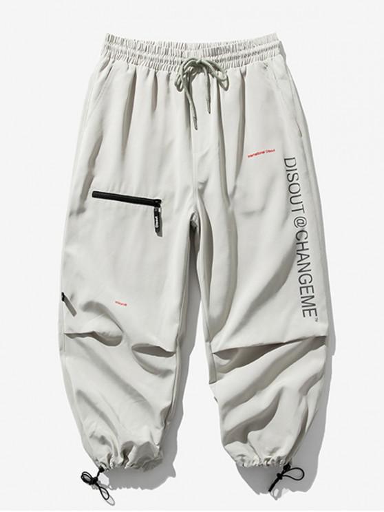 Pantalones Trotar Cintura Elástica Estampado Letra - Gris Claro 2XL