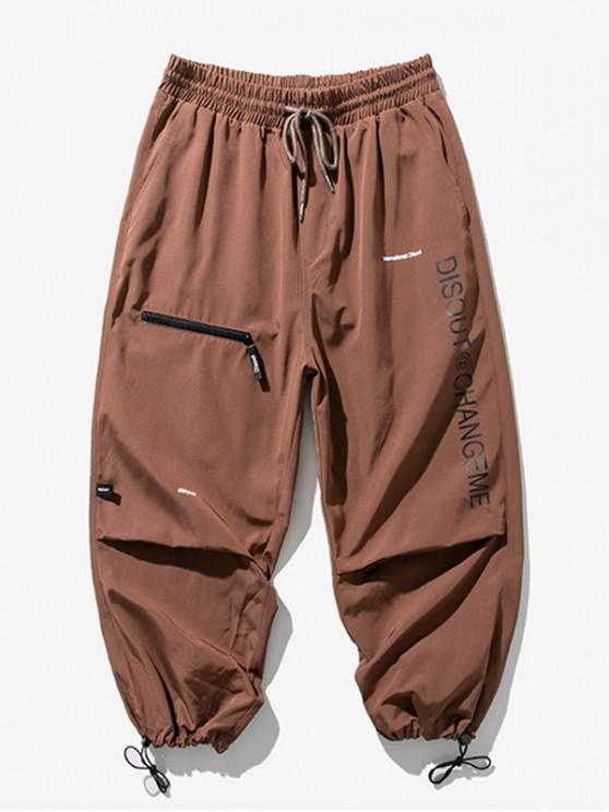 Pantalones Trotar Cintura Elástica Estampado Letra - Marrón Oscuro 2XL