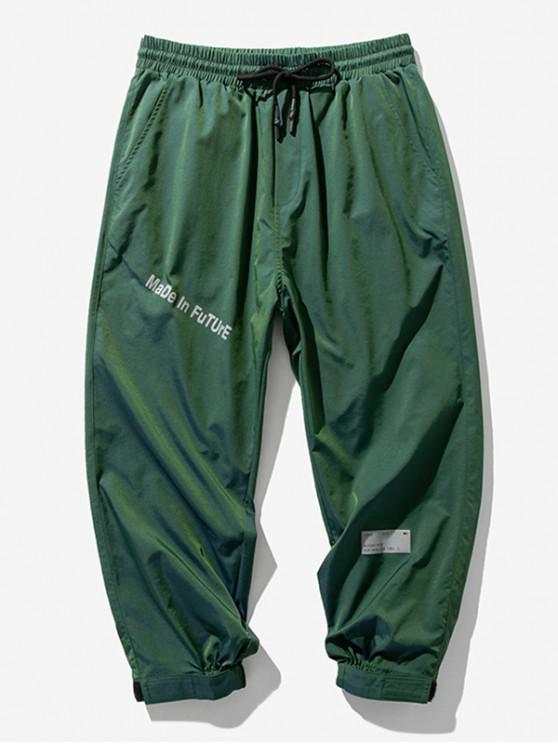 Pantalones Jogger Cintura Elástica Estampado Letras - Verde L