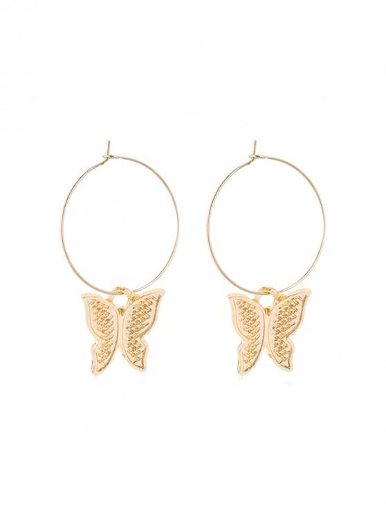new Butterfly Pendant Carved Hoop Earrings - GOLDEN STYLE-A
