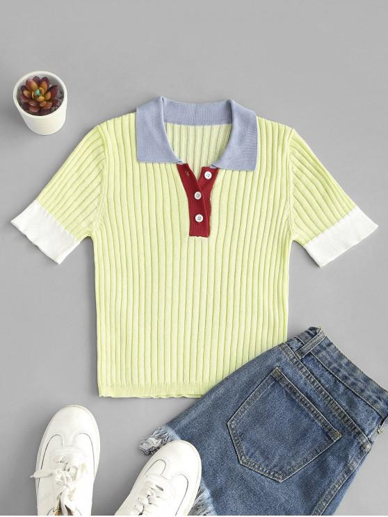 womens ZAFUL Buttoned Front Colorblock Knitted Tee - LIGHT YELLOW L