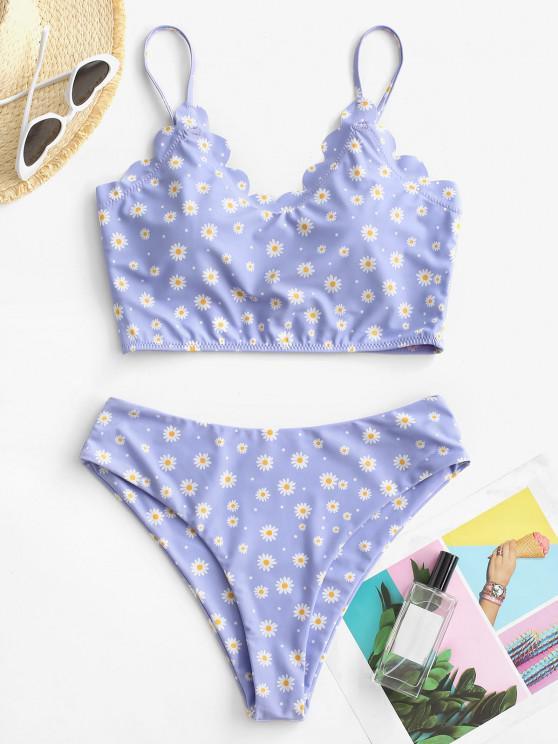 ladies ZAFUL Scalloped Daisy Print High Leg Tankini Swimwear - LIGHT PURPLE M