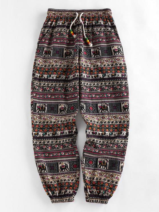 buy ZAFUL Tribal Print Beading Drawstring Jogger Pants Set - MULTI-A M