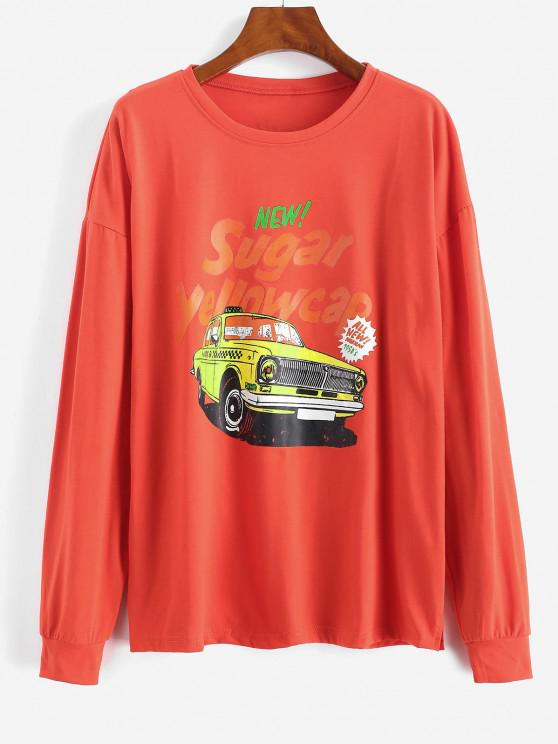 best Letter Car Print Drop Shoulder Sweatshirt - RED M