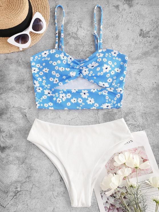 women's ZAFUL Ribbed Floral Underboob Bandeau Tankini Swimwear - LIGHT BLUE S