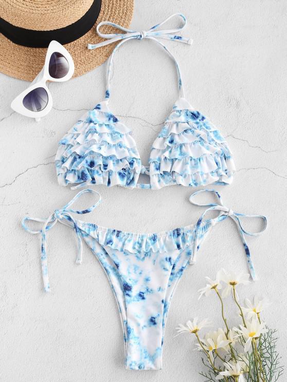 outfits ZAFUL Halter Tiered Ruffle Tie Dye String Bikini Swimwear - LIGHT BLUE S