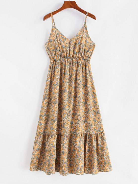 latest Flower Print Empire Waist Flounce Hem Dress - YELLOW ONE SIZE