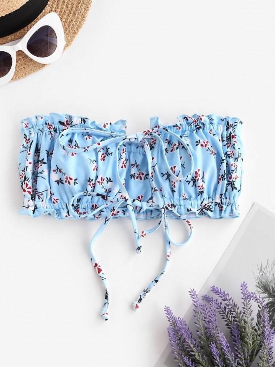 outfit ZAFUL Ditsy Print Dual Ties Bandeau Bikini Top - LIGHT BLUE M