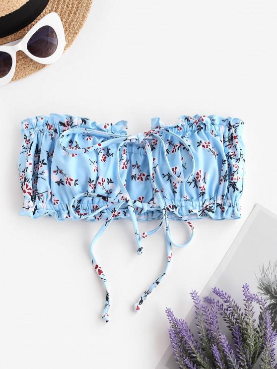 ZAFUL Ditsydruck Bandeau Bikini-Top mit Zwei Krawatten - Hellblau L