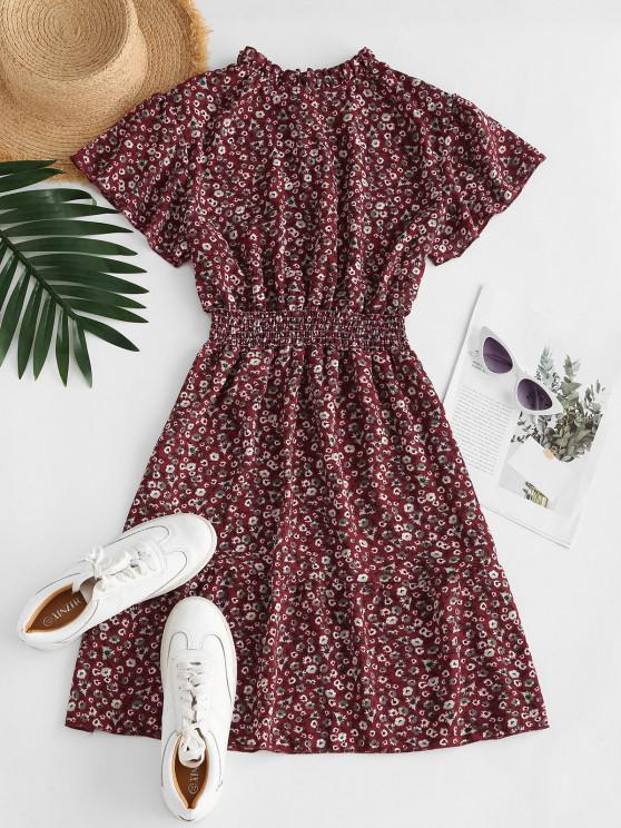hot Ditsy Floral Ruff Collar Flutter Sleeve Dress - DEEP RED L