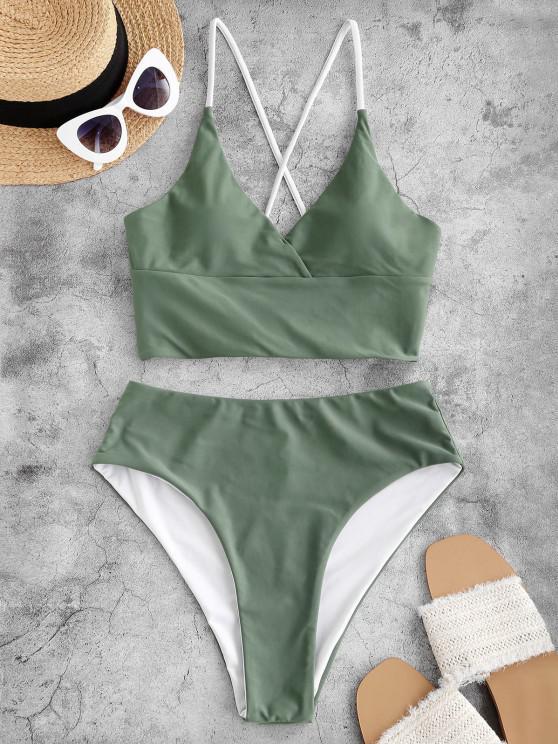 ZAFUL Side Boning Crisscross Lace Up Tankini Swimwear - اخضر فاتح XL
